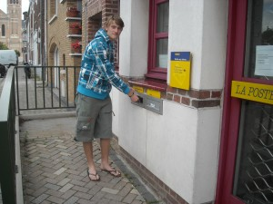 My son sends a postcard from Merville to his grandmother
