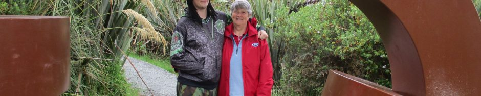Kurtis and Anne at Gate of Rakiura National Park